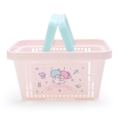 小禮堂 雙子星 塑膠手提置物籃 購物提籃 浴室收納籃 瓶罐架 (粉藍 星星) 4550337-73893