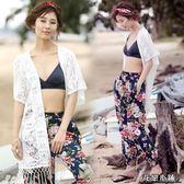 防曬衣 海邊沙灘外套女巴厘島度假風刺繡蕾絲開衫寬松中長款防曬衣薄開衫