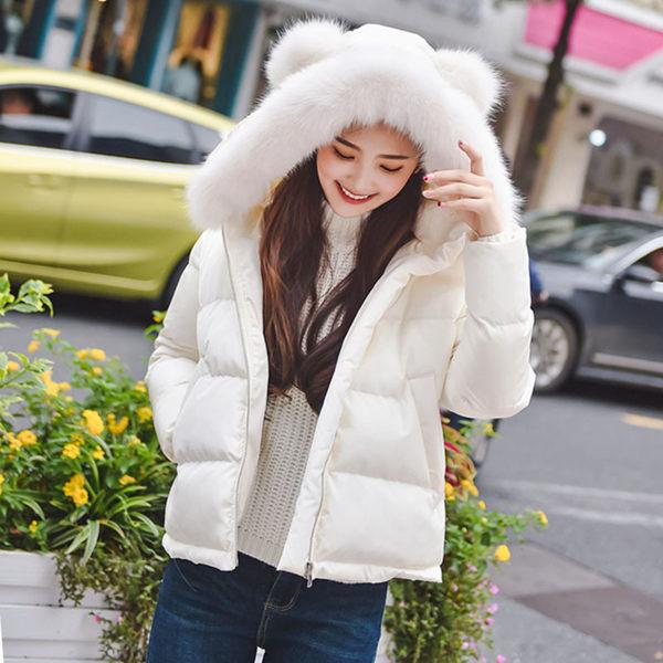 【現貨】梨卡 - 韓國空運短款耳朵造型毛領大口袋保暖加厚鋪棉外套A387