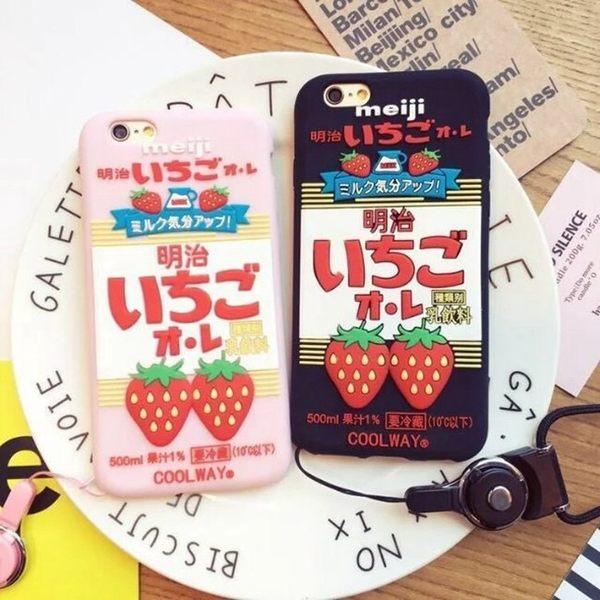 iPhoneX 手機殼 送掛繩 日本明治草莓牛乳 矽膠軟殼 蘋果iPhone8X/iPhone7/6Plus