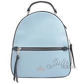 茱麗葉精品【專櫃款 全新現貨】COACH C4082 馬車LOGO撞色手提拉鍊後背包.淺藍/米白