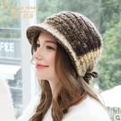 手工編織毛線帽加厚羊毛針織帽秋冬女護耳保暖冬帽新品-T