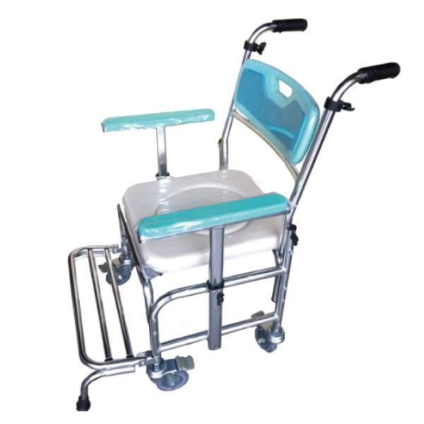 鋁附輪馬桶椅-(扶手升降+防傾桿)【杏一】