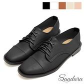 小皮鞋 俐落車線綁帶紳士鞋-黑