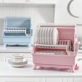 收納箱置物架翻蓋漏水碗柜廚房帶蓋雙層碗筷瀝水架【奇妙商鋪】