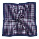 DAKS經典撞色格紋100%純棉帕巾手巾手帕(海軍藍/藍)989108-125