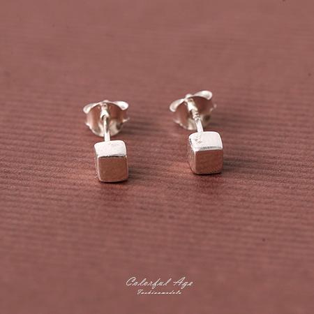 耳環 925純銀質感幾何方塊 柒彩年代【NPD50】