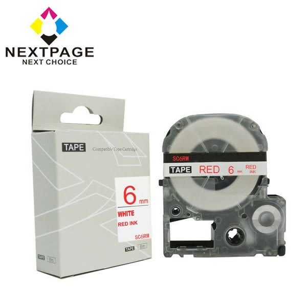 【NEXTPAGE】EPSON 一般相容標籤帶 LC-2WRN (白底紅字 6mm)