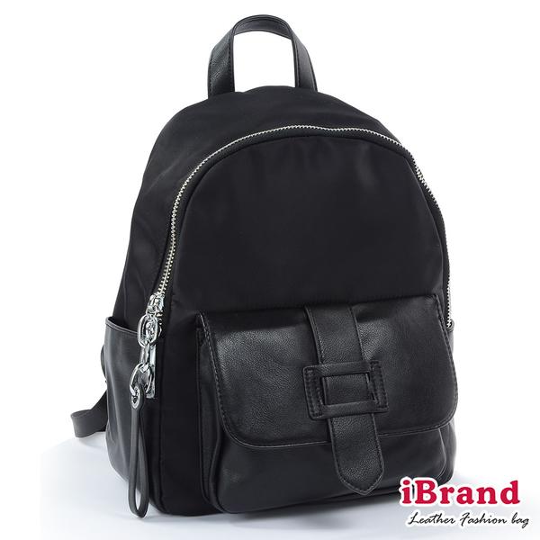 【i Brand】簡約真皮皮飾口袋後背包-黑 SPL-8058-BK