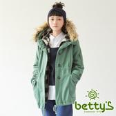 betty's貝蒂思 格紋拼接毛毛連帽鋪棉大衣(綠色)