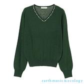 「Hot item」珍珠領口配飾針織上衣 - earth music&ecology