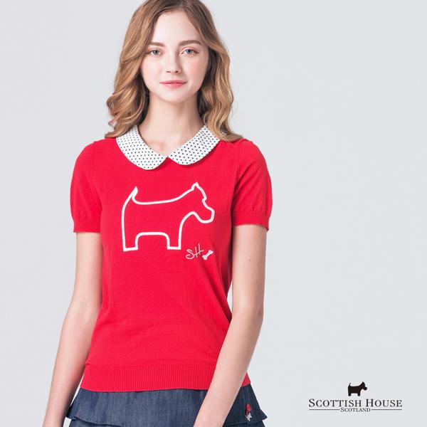 點點領片X胸前梗犬電繡設計針織上衣