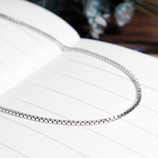 威尼斯方盒細鍊(0.75mm極細鍊) 16吋純銀項鍊