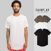 【GT】FairPlay Manu 黑白綠 短袖T恤 休閒 長版 內搭 純棉 輕薄 素T 短T 圓弧下擺 圓領破壞 S/S