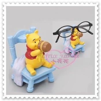 ♥小花花日本精品♥ Hello Kitty Disney迪士尼小熊維尼眼鏡架藍色椅子坐姿喝蜂蜜立體造型 57030302