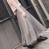 紗裙半身裙春女2018新款百褶裙網紗裙半身中長款裙子夏季韓版百搭  良品鋪子