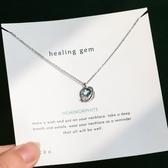 925純銀藍色水晶鑰匙項鍊吊墜女 大魚海棠森系極光小眾氣質鎖骨鍊