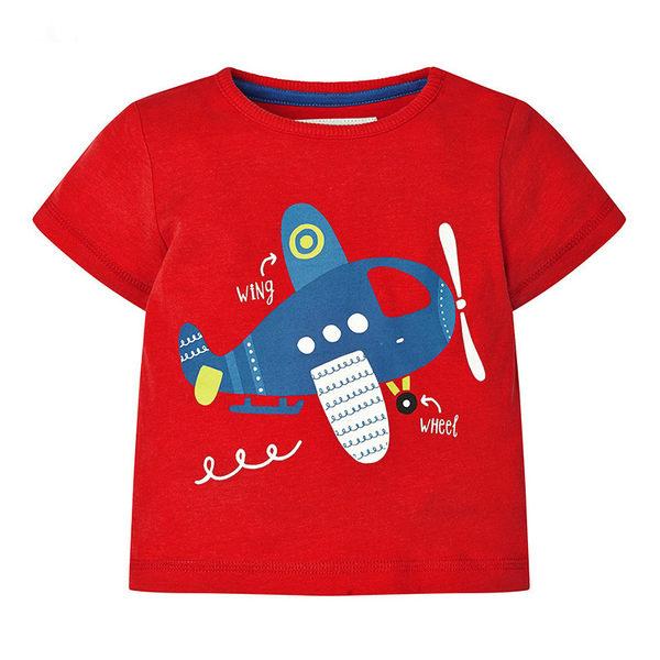 男Baby男童短袖T恤可愛飛機純棉紅色上衣 出口歐美品質現貨