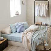 被套床包組-加大- [大格藍床包 x 小格咖被套] 新疆棉自然無印;混搭良品;男子部屋;翔仔居家