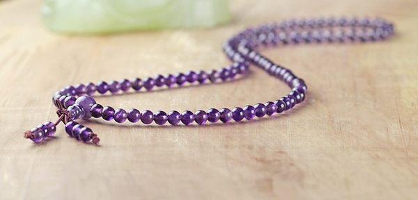 [協貿國際]贊比亞紫水晶108顆佛珠手鍊單條價