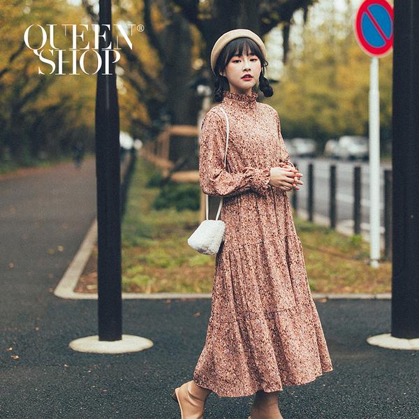 Queen Shop【01084810】花邊高領碎花長洋裝 兩色售 *現+預*