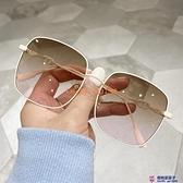 漸變色時尚太陽鏡男女個性顯瘦方框小臉圓臉明星同款墨鏡【櫻桃菜菜子】