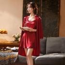 短袖睡衣 2021年新款春秋冰絲吊帶睡裙睡袍性感絲綢長袖睡衣女夏季薄款兩件 夢藝家