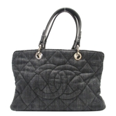 CHANEL 香奈兒 黑色丹寧手提包 Denim Quilted Timeless CC Tote Bag【BRAND OFF】