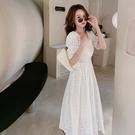 白色洋裝 時尚休閑復古蕾絲勾花鏤空純色連身裙女潮流D353紅粉佳人