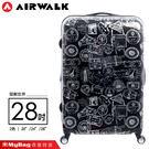AIRWALK 環郵世界 行李箱 28吋 黑色 精彩歷程 拉鍊硬殼行李箱 A615371220 MyBag得意時袋