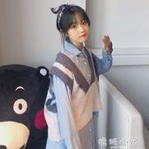 韓版時尚休閒套裝秋季女裝中長款長袖襯衫 v領針織馬甲背心兩件套  嬌糖小屋