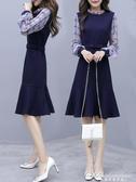 新款女裝長袖雪紡洋裝收腰顯瘦氣質流行針織裙子 黛尼時尚精品