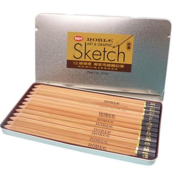 利百代 CB-9900 NOBLE 12級硬度 專家用繪圖鉛筆/一小盒入(定120) 原木 鐵盒 素描鉛筆