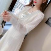 洋裝打底裙甜美S-2XL新款法式方領初戀裙長袖長款洋氣仙女裙連身裙T613-976.胖胖唯依