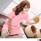 OB嚴選《AB4020-》純色拼接小魚尾裙襬造型落肩長版上衣/洋裝.2色
