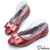 【Deluxe】全真皮浪漫H方鑽超柔軟口袋鞋(紅)