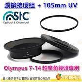 送蔡司拭鏡紙10包 STC 濾鏡接環組+105mm UV 公司貨 Olympus 7-14mm 7-14 超廣角鏡頭專用
