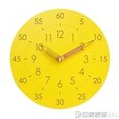 MJK兒童卡通簡約靜音掛鐘表學習實木質客廳個性時尚創意家用時鐘  印象家品