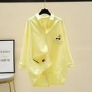 黃色棉麻襯衫女2021年春秋新款外套前短後長休閒內搭襯衣寬鬆上衣 設計師
