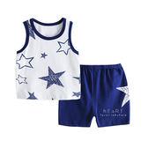 藍色星星背心短褲套裝 無袖背心 短褲 童裝