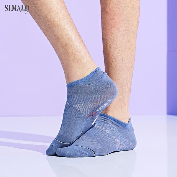 【ST.MALO】X-Static銀纖維99.9%除臭男型船型襪-1975MS-丈青