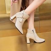 【榮耀3C】切爾西靴 2021秋冬季切爾西靴高跟短靴女粗跟尖頭顯瘦百搭短筒及踝靴女