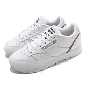 【海外限定】Reebok 休閒鞋 CL LTHR 白 小白鞋 皮革 藍 紅 女鞋 運動鞋【ACS】 EG5975