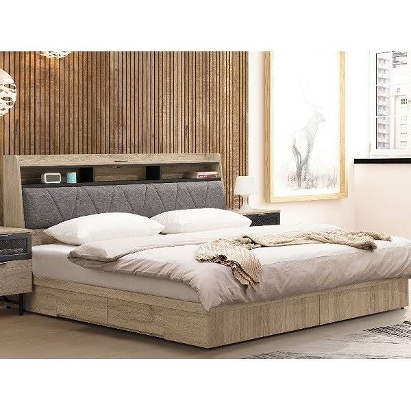 床架 TV-25-23 墨爾本5尺二抽收納雙人床(床頭+床底)(不含床墊) 【大眾家居舘】
