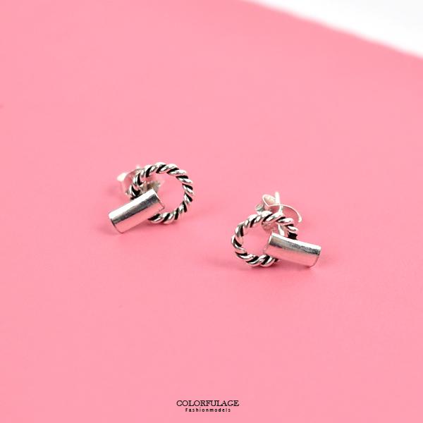 純銀耳環 簡約花圈方塊耳針銀飾NPD217