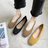 飛織奶奶鞋女2020春季新款方頭淺口一腳蹬豆豆鞋百搭透氣平底單鞋 後街五號