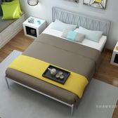 簡約現代鐵藝床1.5米1.8米雙人床1.2米單人床鐵床金屬鋼管床WY 【店慶狂歡全館八五折】
