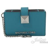 茱麗葉精品【全新現貨】MICHAEL KORS KARLA 鑰匙扣鍊風琴式卡片盒.藍綠