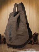 雙肩包男士時尚潮流韓版學生書包帆布水桶包休閒旅行背包大容量包-Ifashion