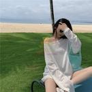 鏤空針織上衣 防曬衣女學生韓版寬鬆夏季網紅冰絲鏤空中長款白色長袖t恤上衣ins【樂淘淘】